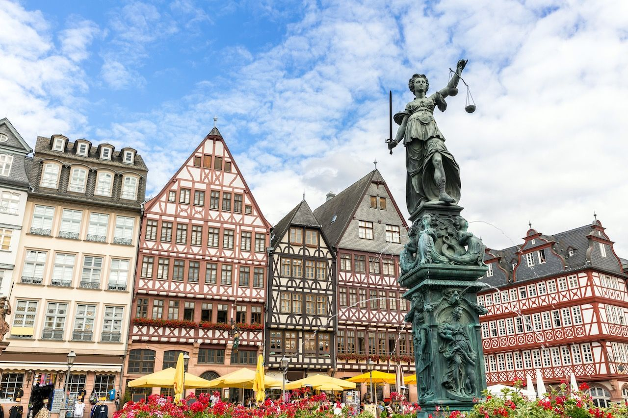Frankfurt old town with the Justitia statue