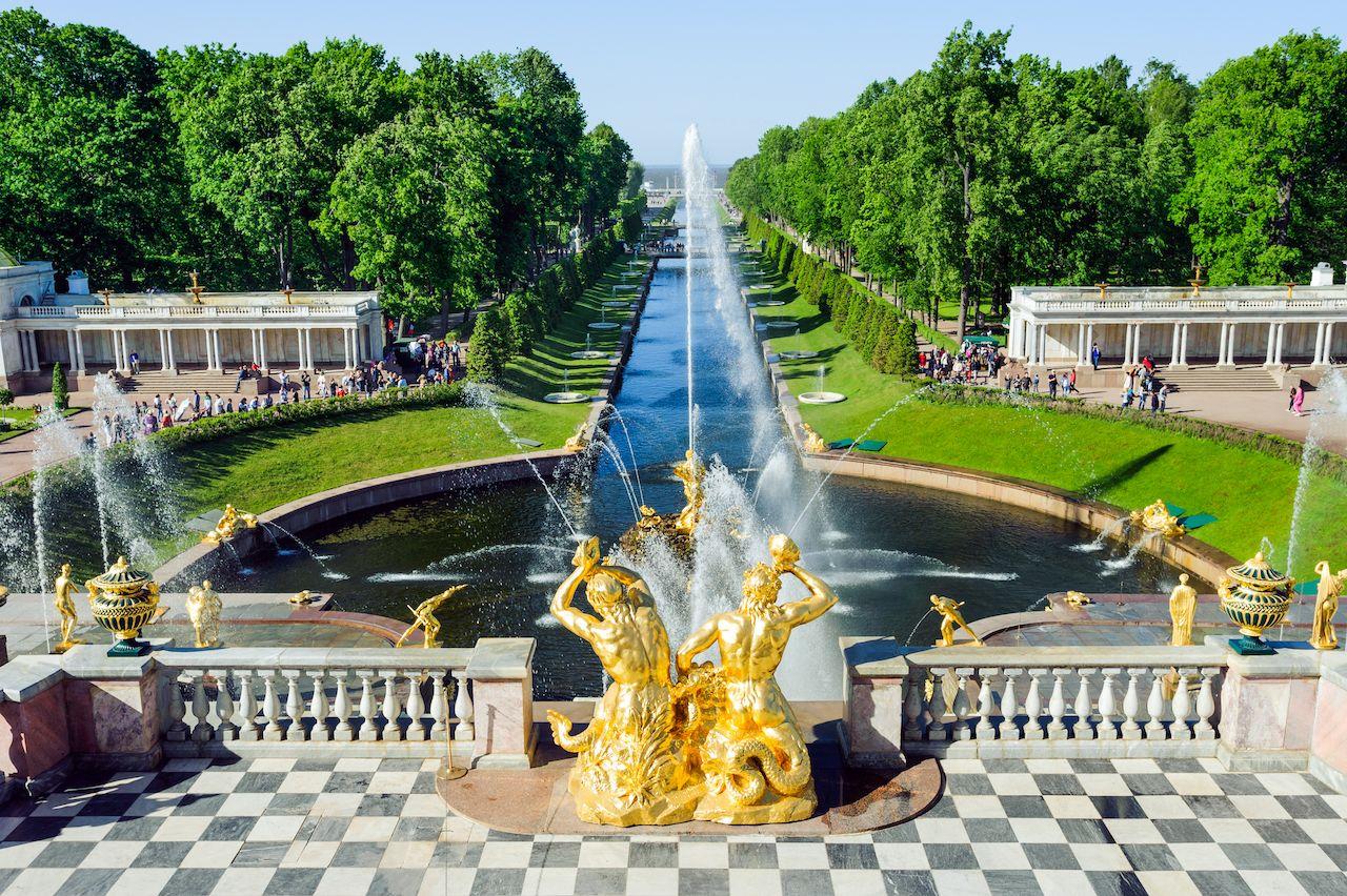 Grand cascade fountains in Petergof, Russia