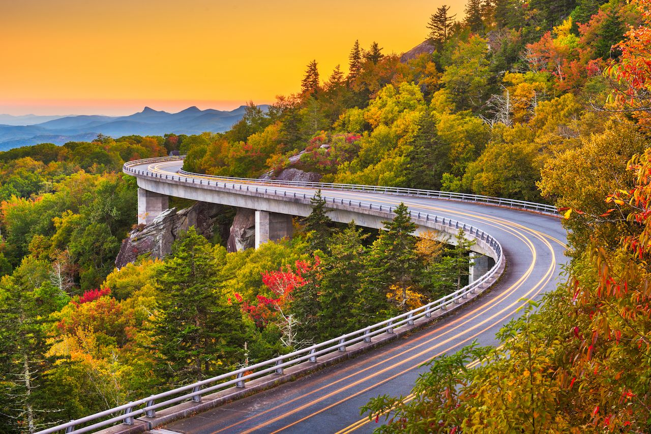 Grandfather Mountain, North Carolina Linn Cove Viaduct after sunset