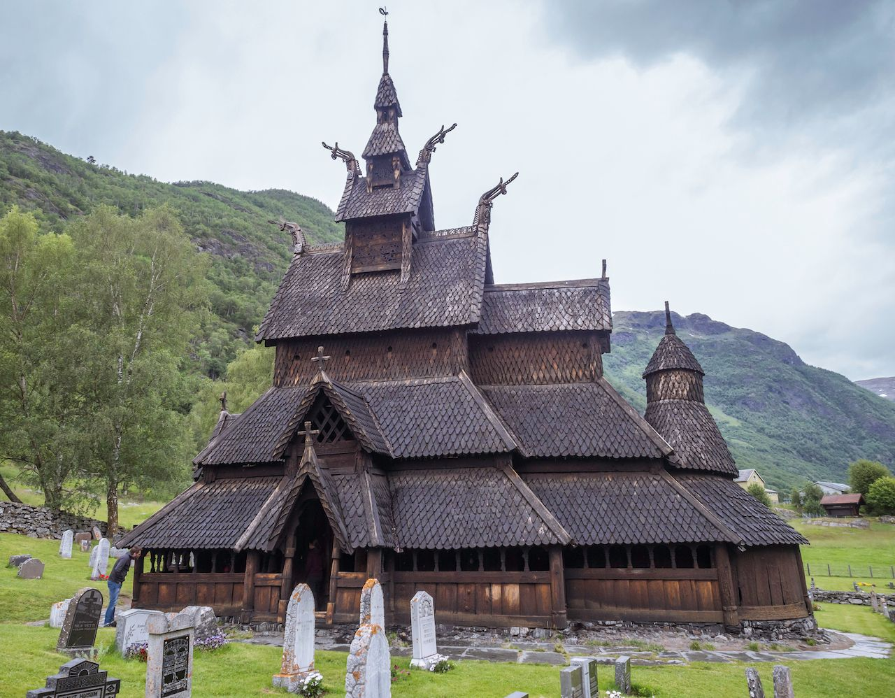 Graveyard Cemetery at Kaupanger Stavkirke, Norway