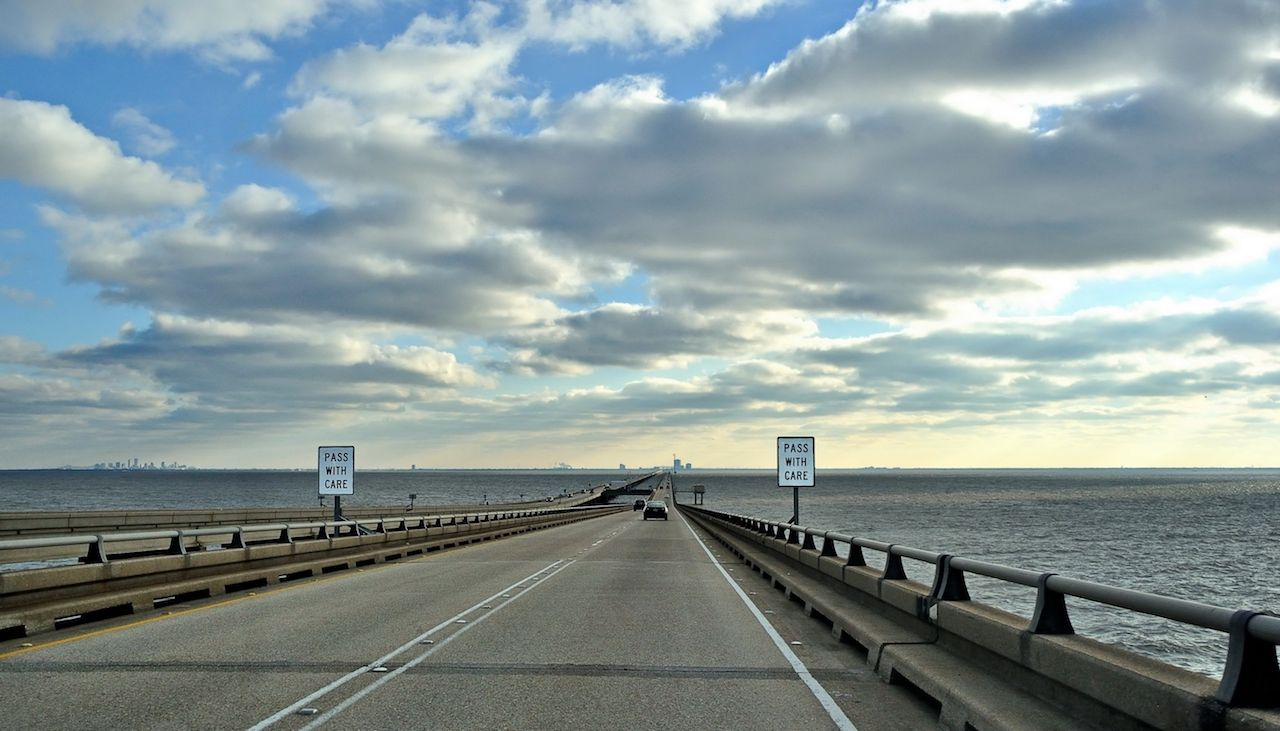 Heading South on Pontchartrain Causeway Lake in New Orleans, LA