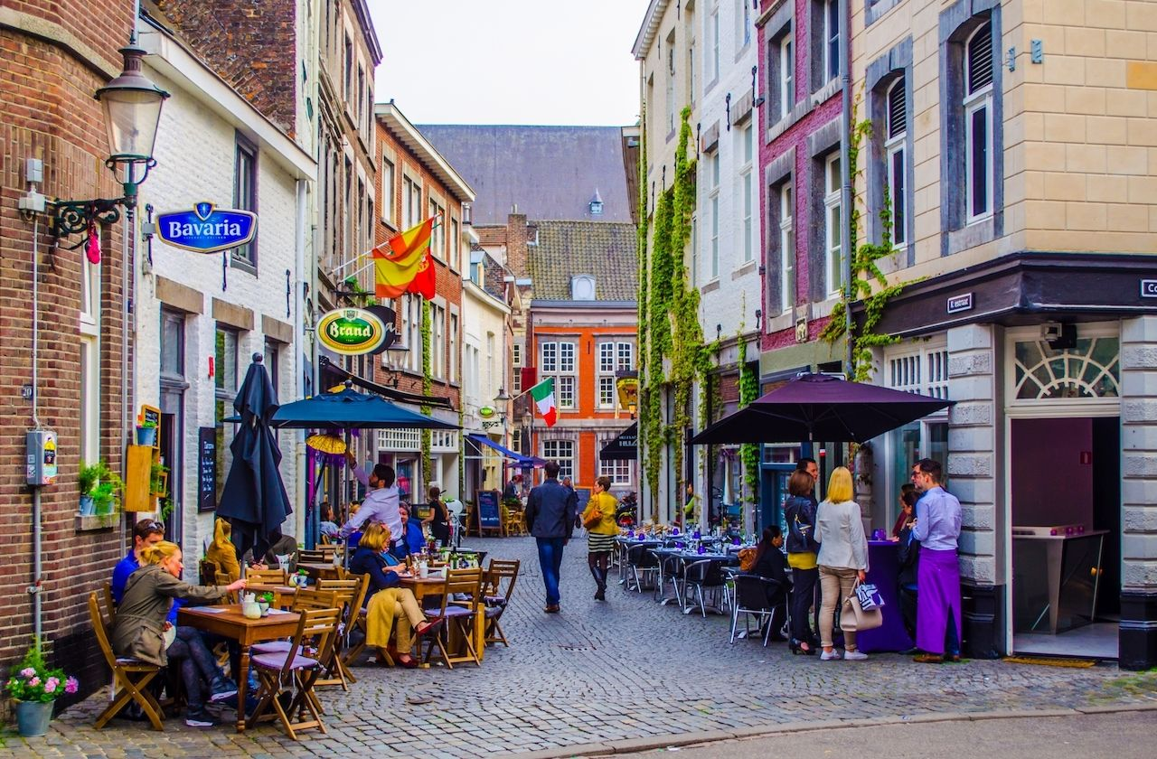 Historical center of the city of Maastricht is full of narrow streets with bars, restaurants and resting areas