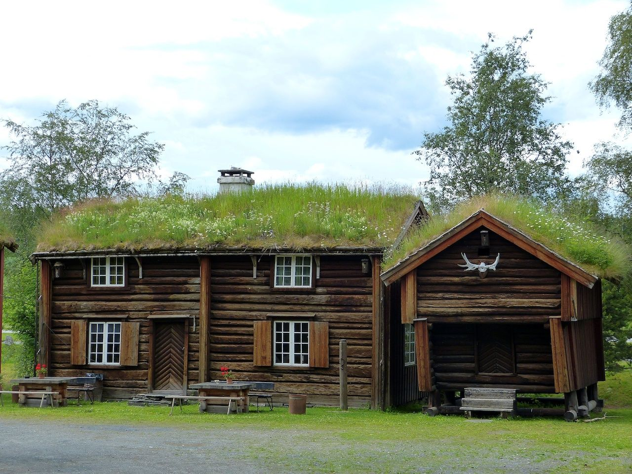 Historical timber buildings in Stiklestad National Cultural Center in Norway