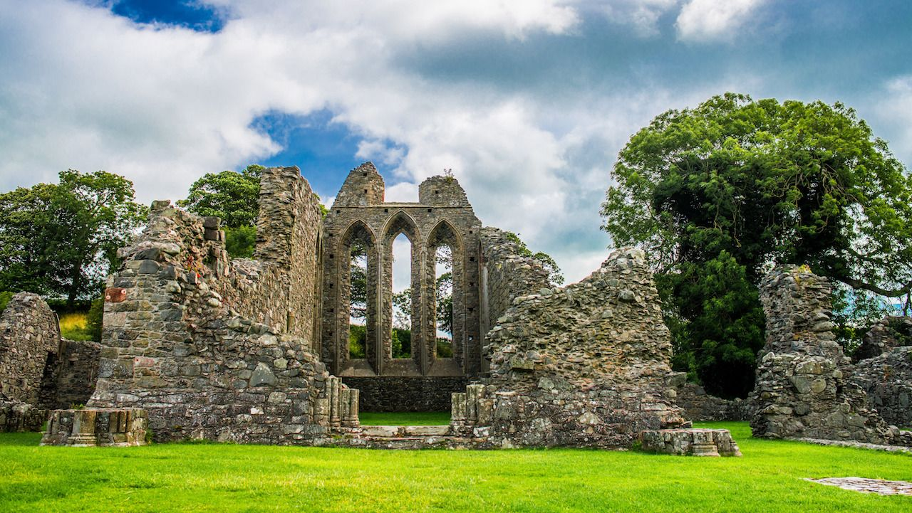 Inch Abbey in Northern Ireland. Monastery ruins in Downpatrick