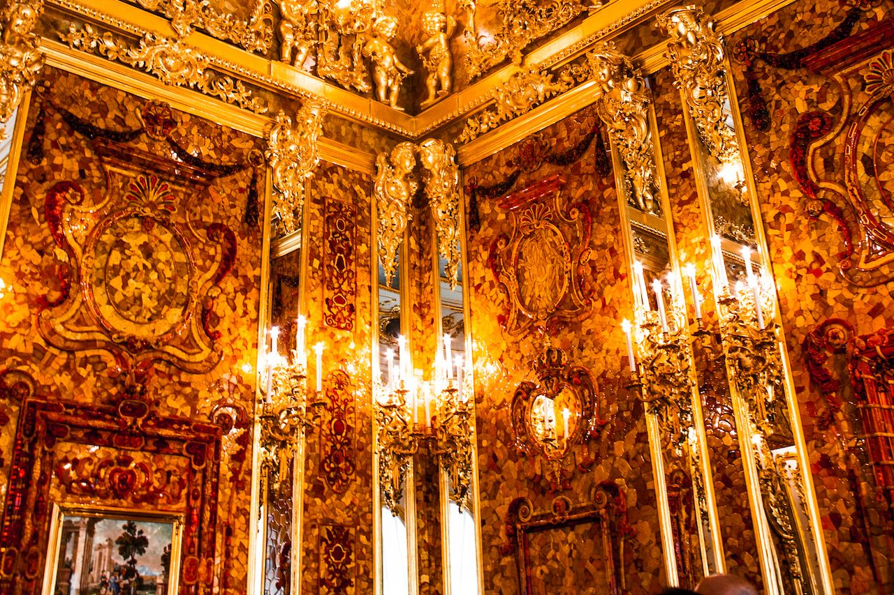 Interior of Catherine Palace, Amber room, Russia