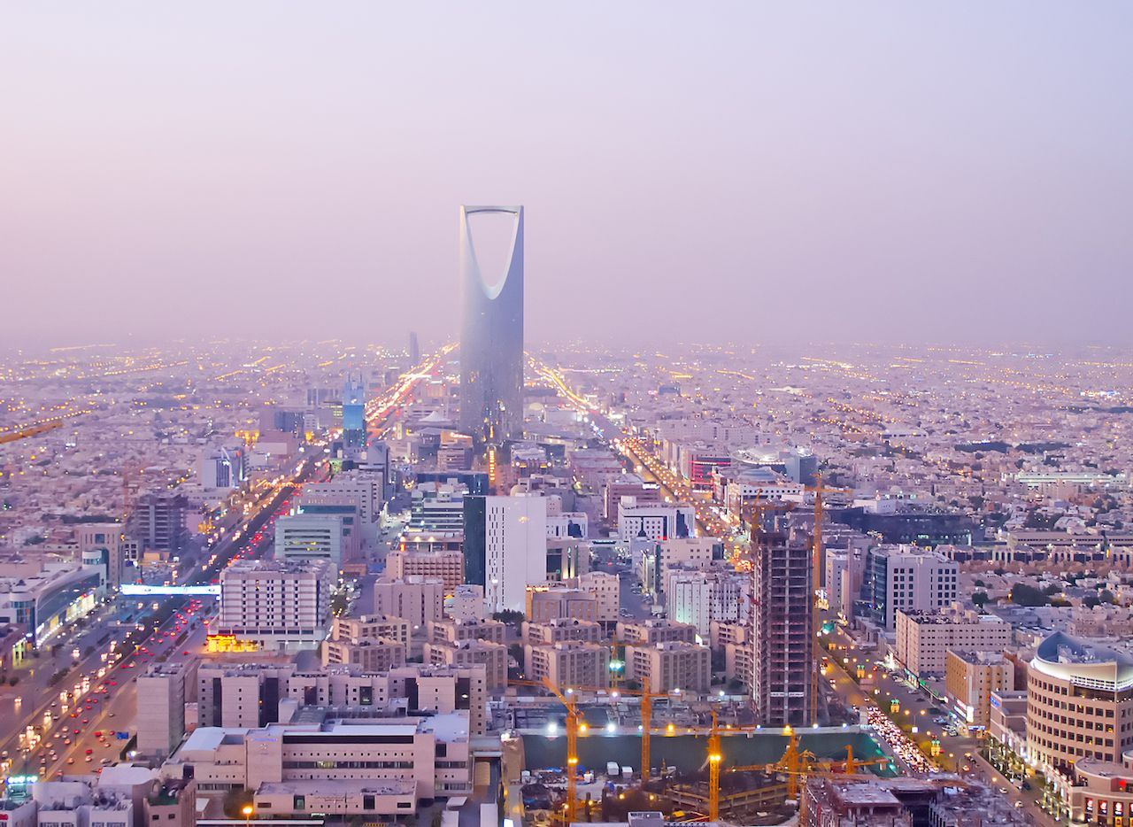 Kingdom tower looming over Riyadh