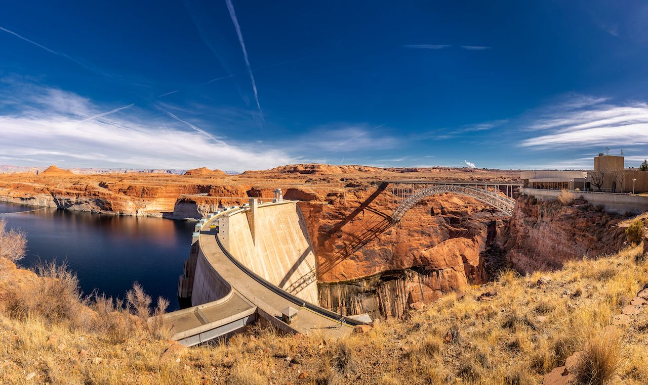Lake Powell and Glen Dam Canyon in the Desert of Arizona, United States