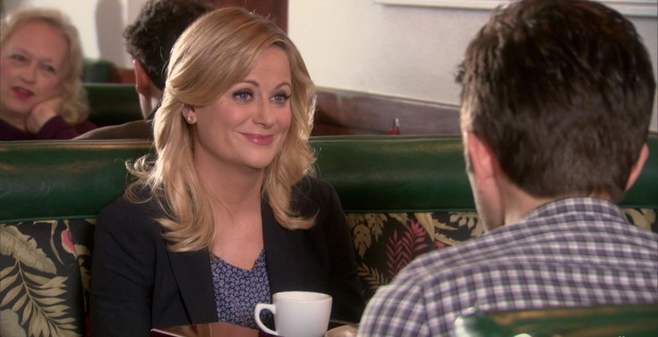 Leslie Knope and Ben Wyatt at JJ's Diner, Four N 20 in California