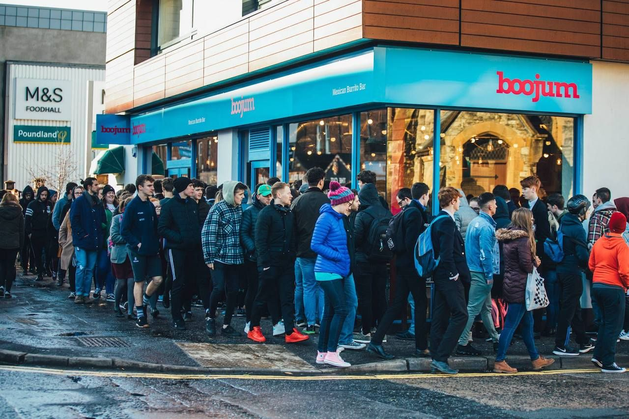 Line of people outside of Boojum Belfast