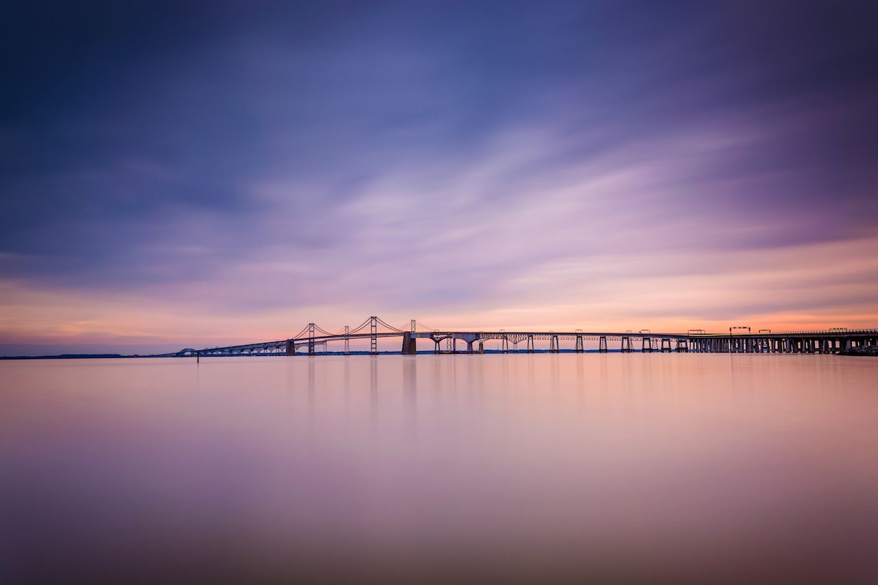Long exposure of the Chesapeake Bay Bridge, from Sandy Point State Park, Maryland