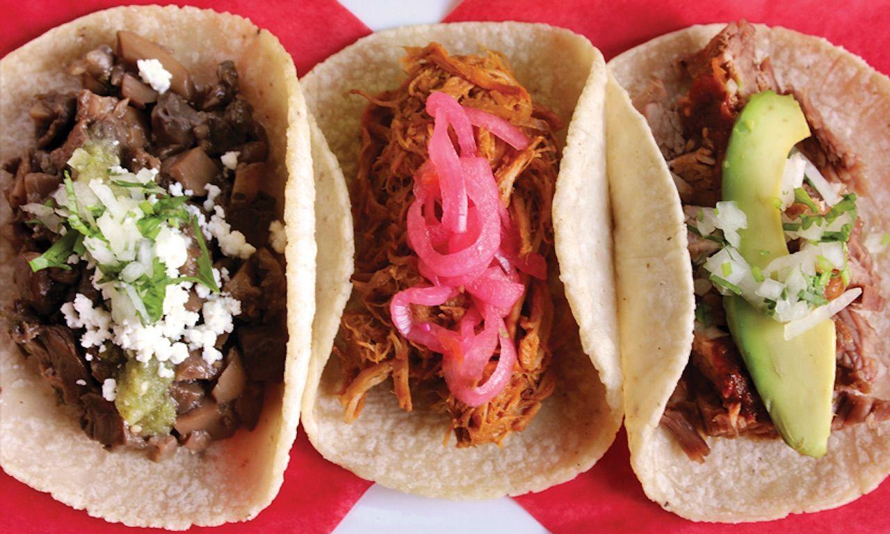 Taco trio from Loteria Grill Farmers Market