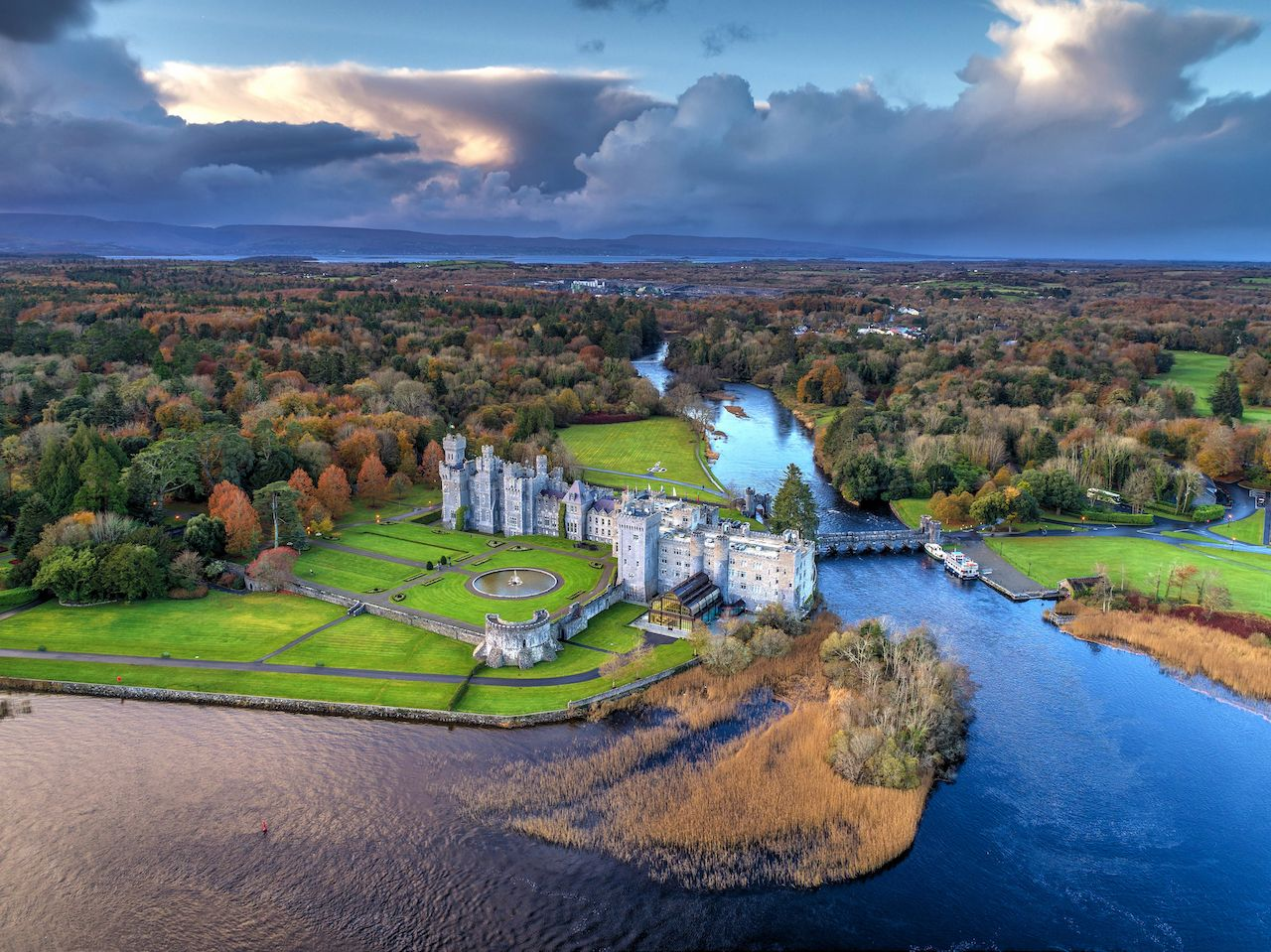 Luxury Ashford Castle and Gardens from above