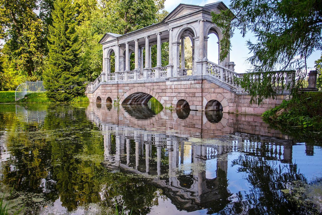 Marble Bridge in the park Tsarskoye Selo, Pushkin, Russia