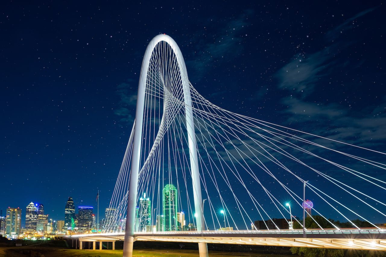 Margaret Hunt Hill Bridge at night in Dallas, Texas