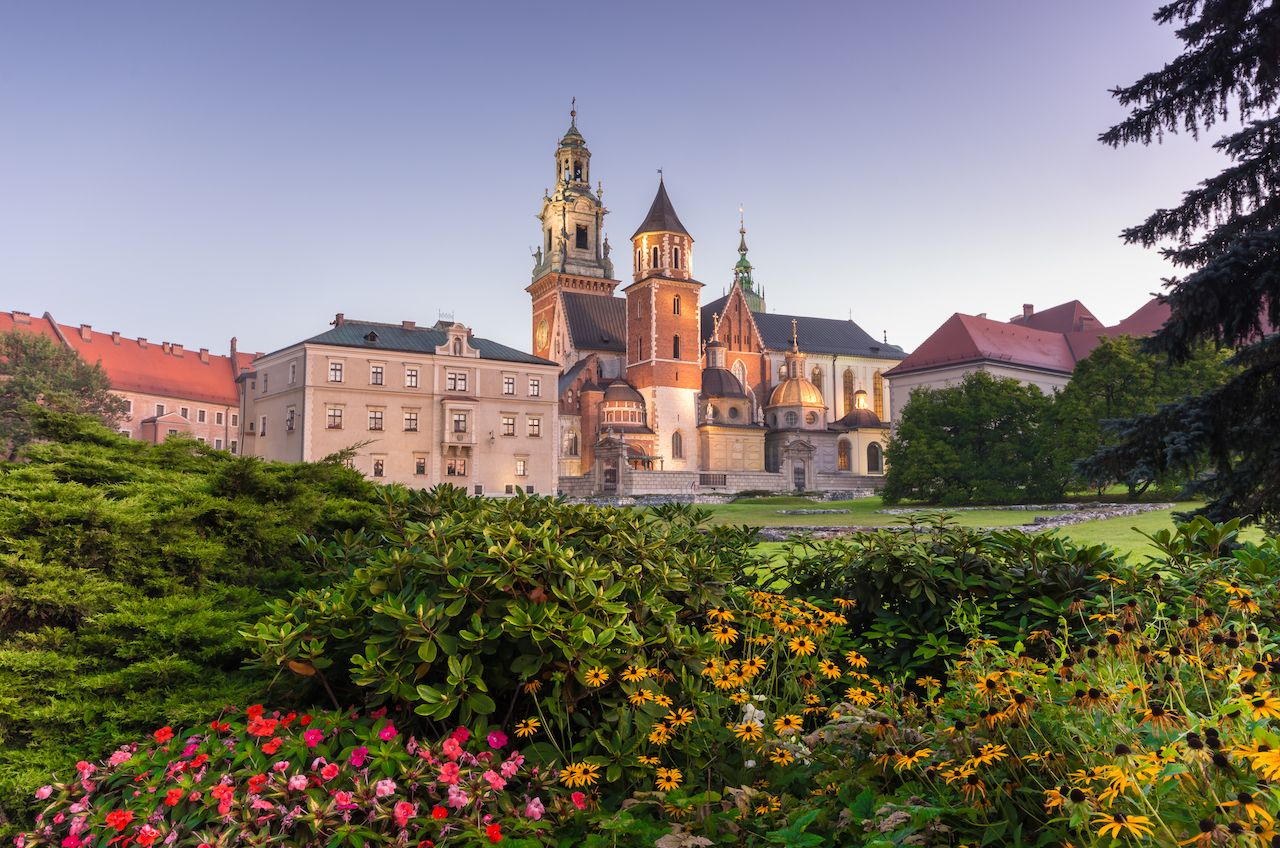 Morning view of Wawel cathedral and Wawel castle on the Wawel Hill, Krakow, Poland