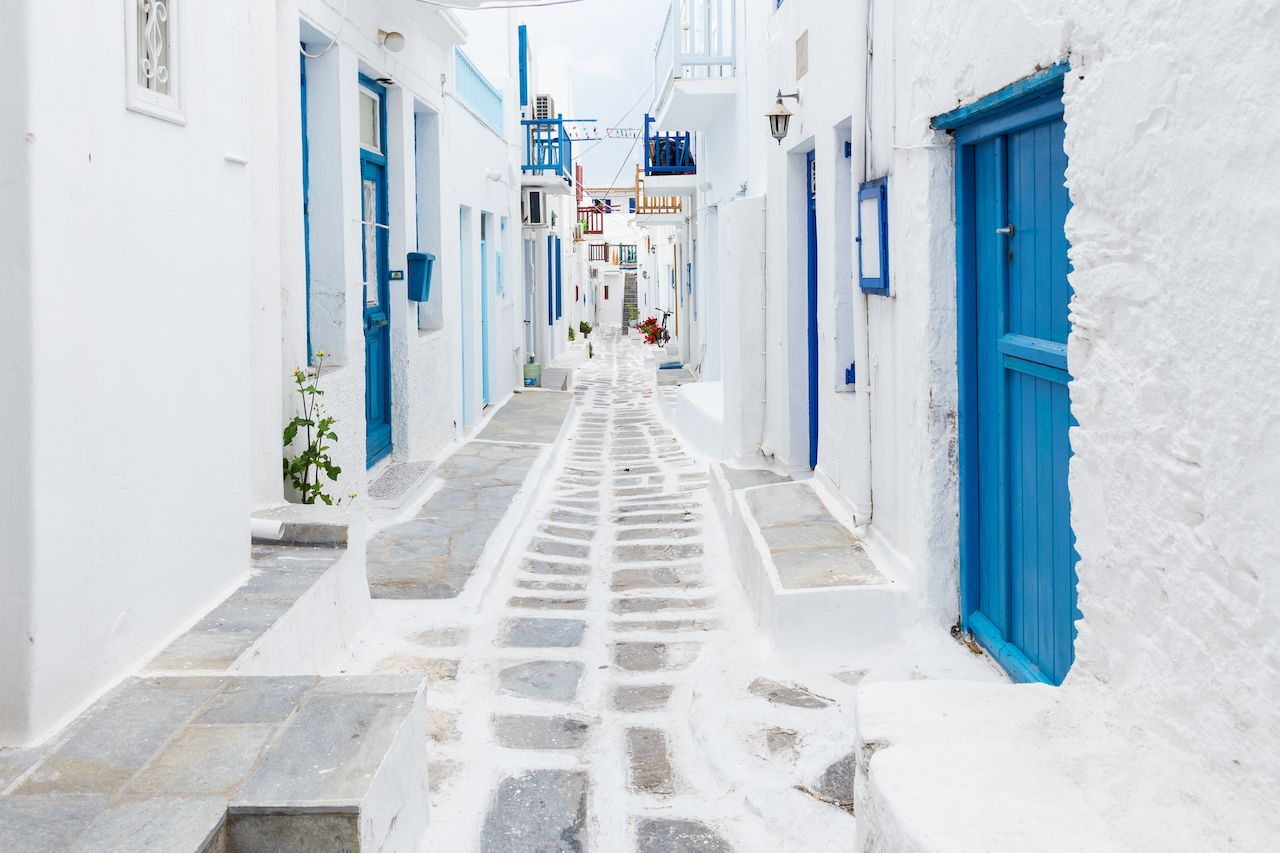 Mykonos street view, Greece