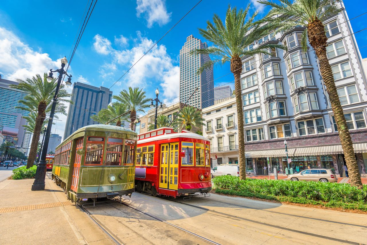 New Orleans, Louisiana, USA street cars