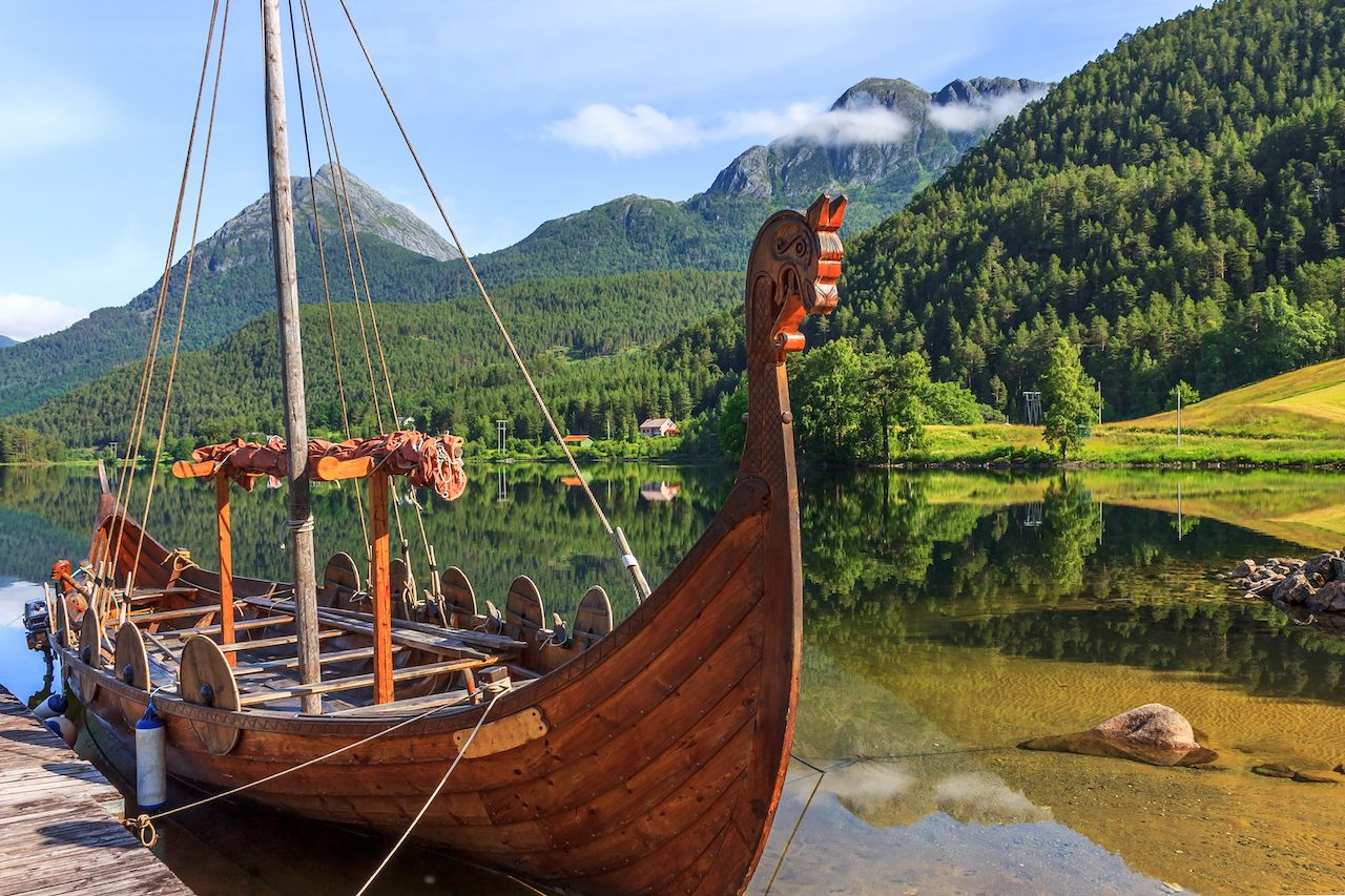 Old viking boats in Norway,