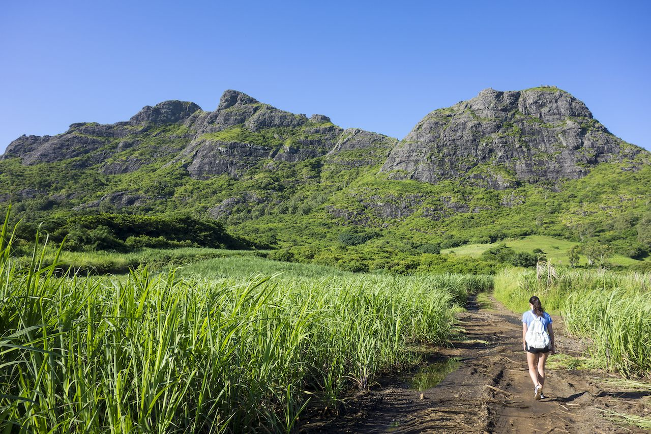 Person hiking in Mauritius