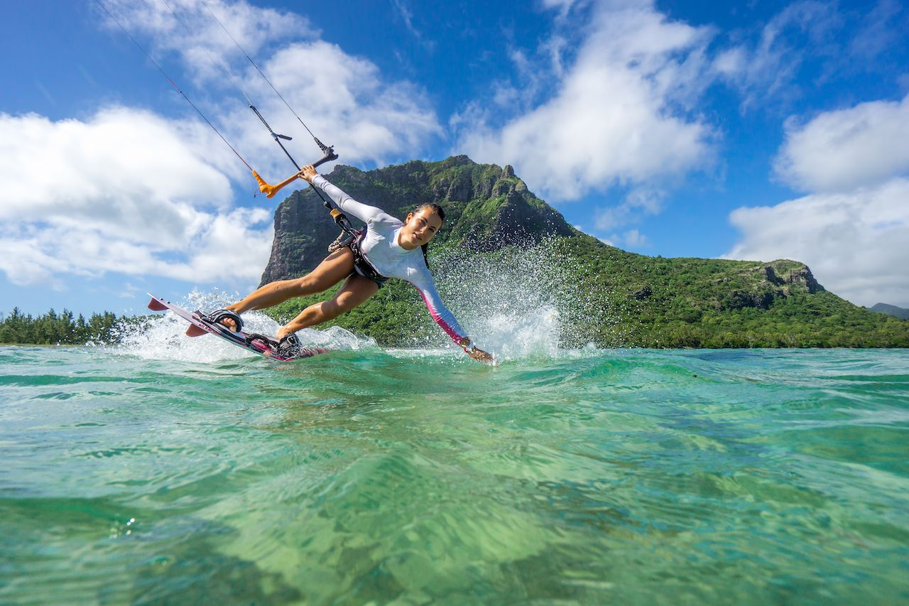 Person kiting in Mauritius