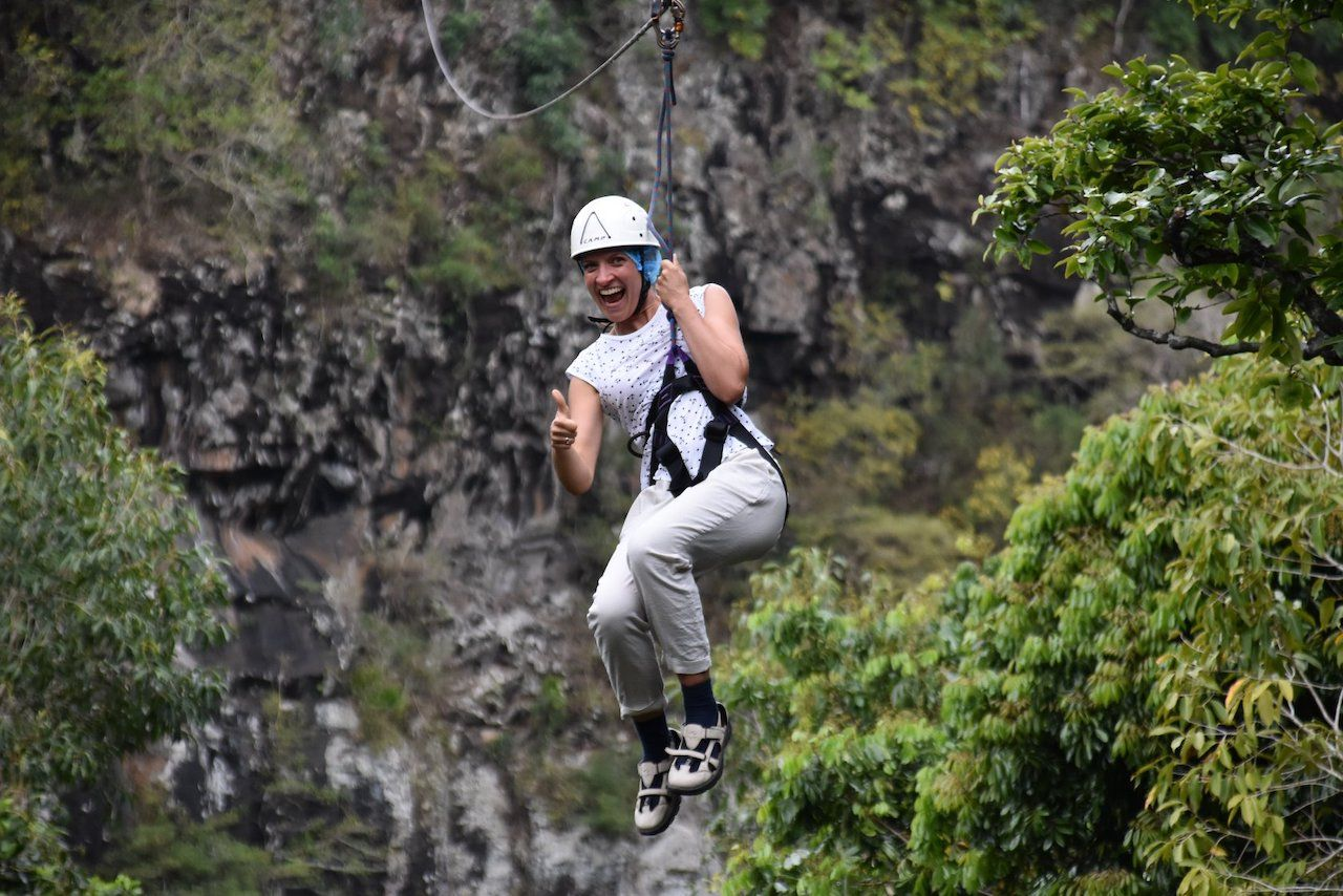 Person zip lining in Lavilleon Natural Forest, Mauritius