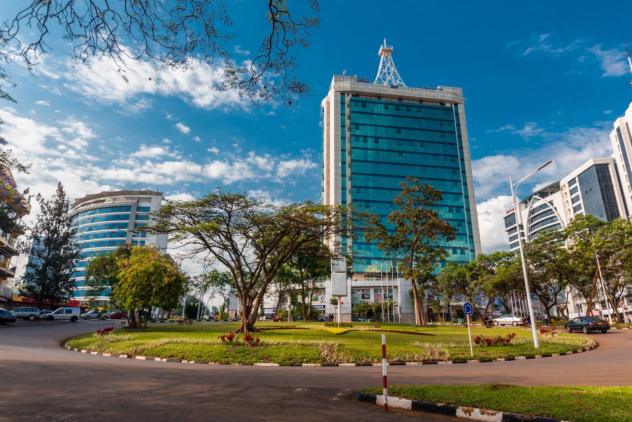 Plaza Pension and surrounding buildings at the city center roundabout in Kigali, Rwanda