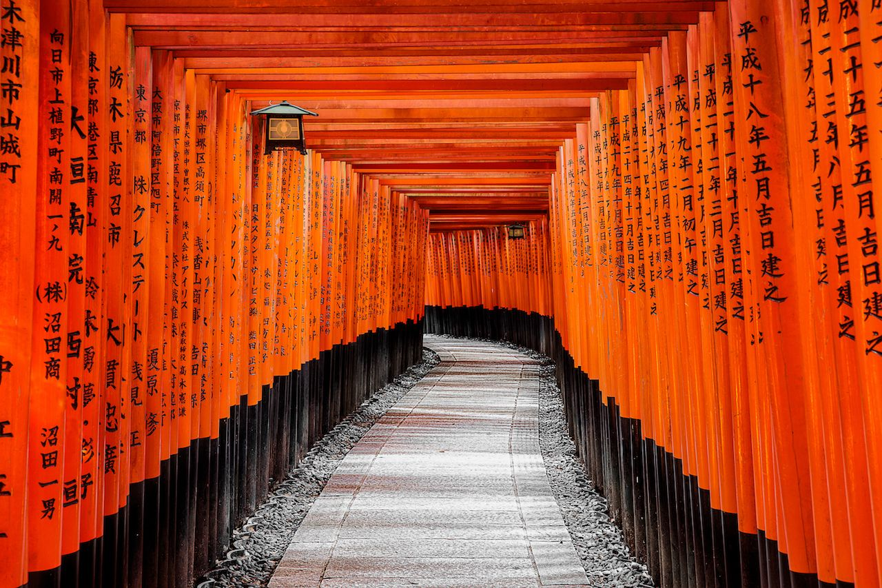 Red Torii gates in Fushimi Inari shrine in Kyoto, Japan