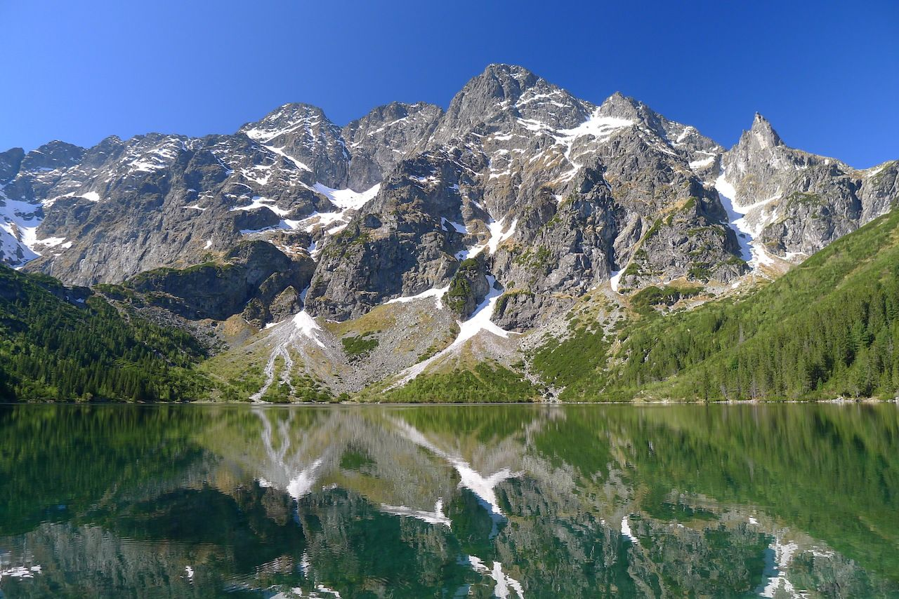 Reflection of Tatra mountain peaks in Morskie Oko Lake
