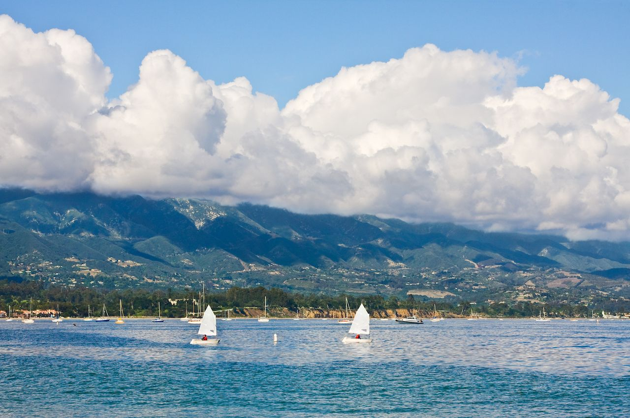 Santa Barbara coastline with foreground sailboats