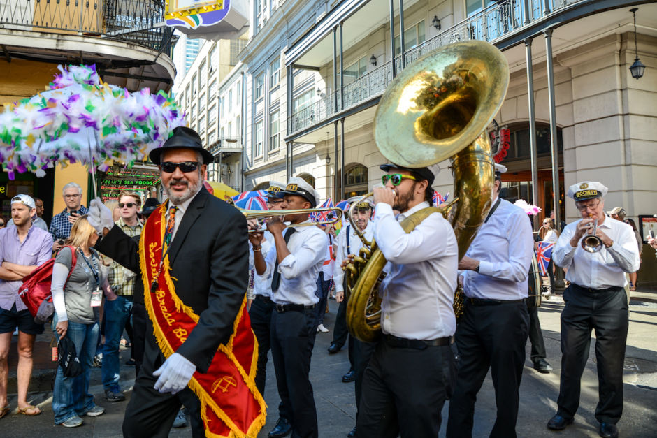 Second Line band plays for French Quarter Fest in NOLA