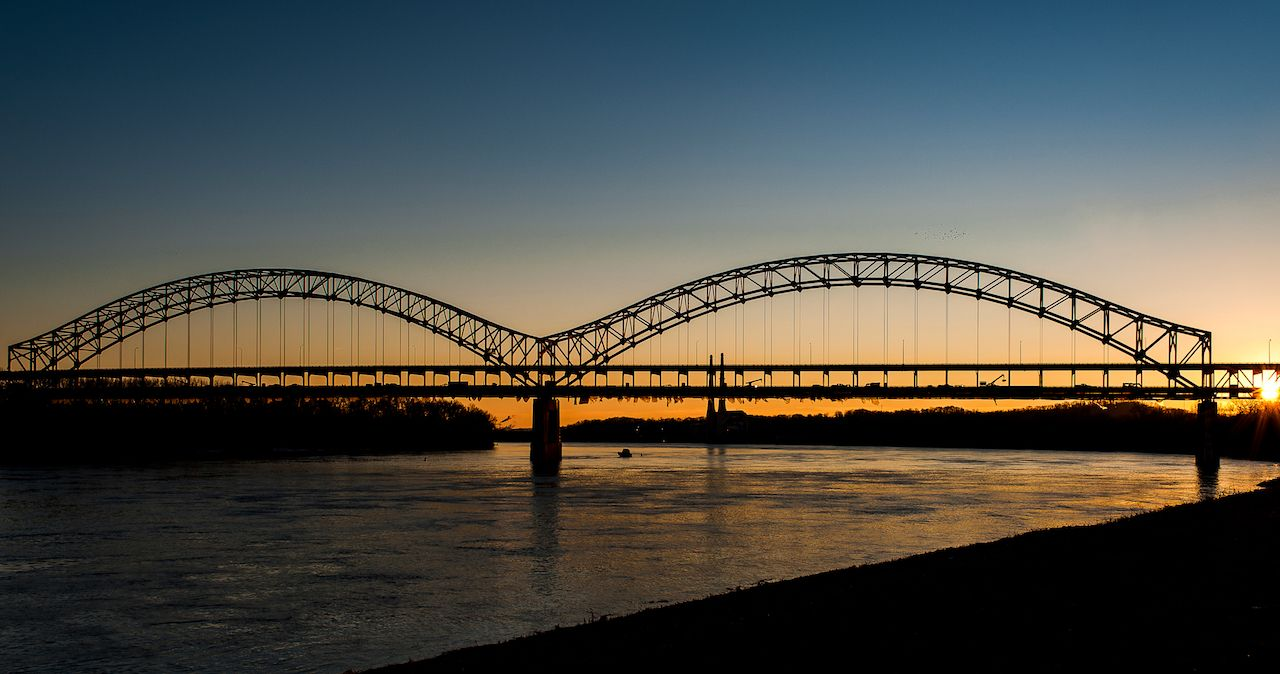 Sherman Minton Bridge over the Ohio River at sundown