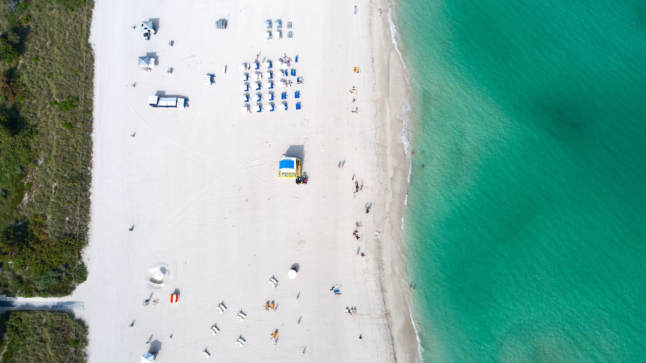 South Miami Beach Overhead Aerial View
