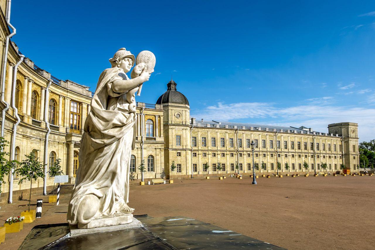 Statues near the ensemble of Gatchina Palace, Russia