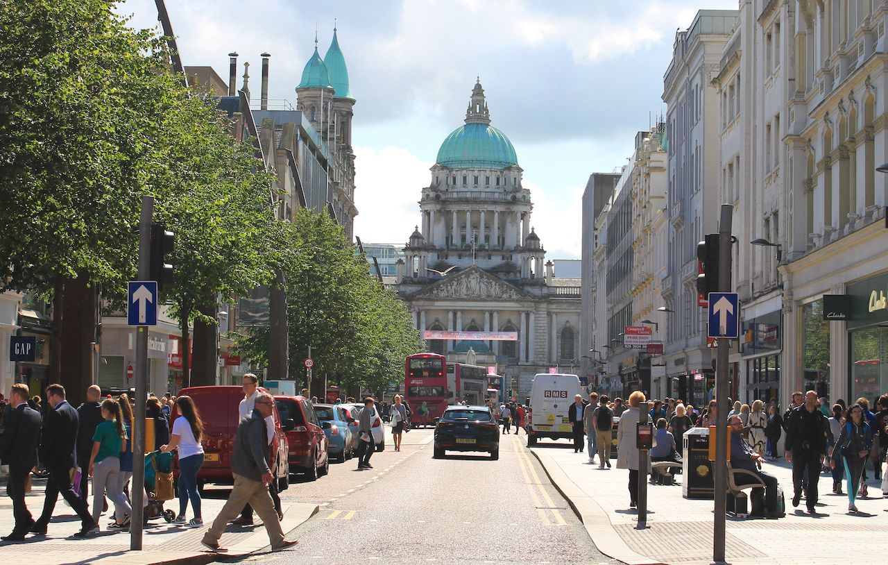 Street close to Donegall Square with view to Belfast City Hall, Northern Ireland