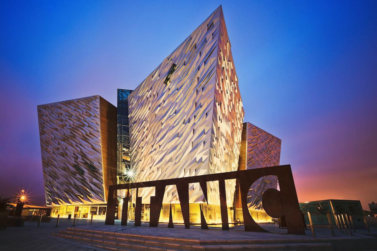 Sunset over Titanic museum in Belfast