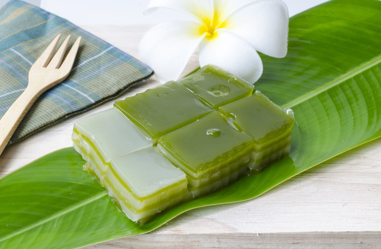 Sweet layered Thai cake with pandan and coconut jelly and sweetmeat