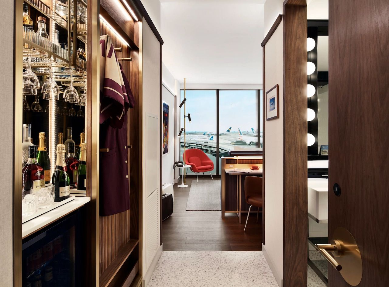 TWA hotel room with view of airplanes