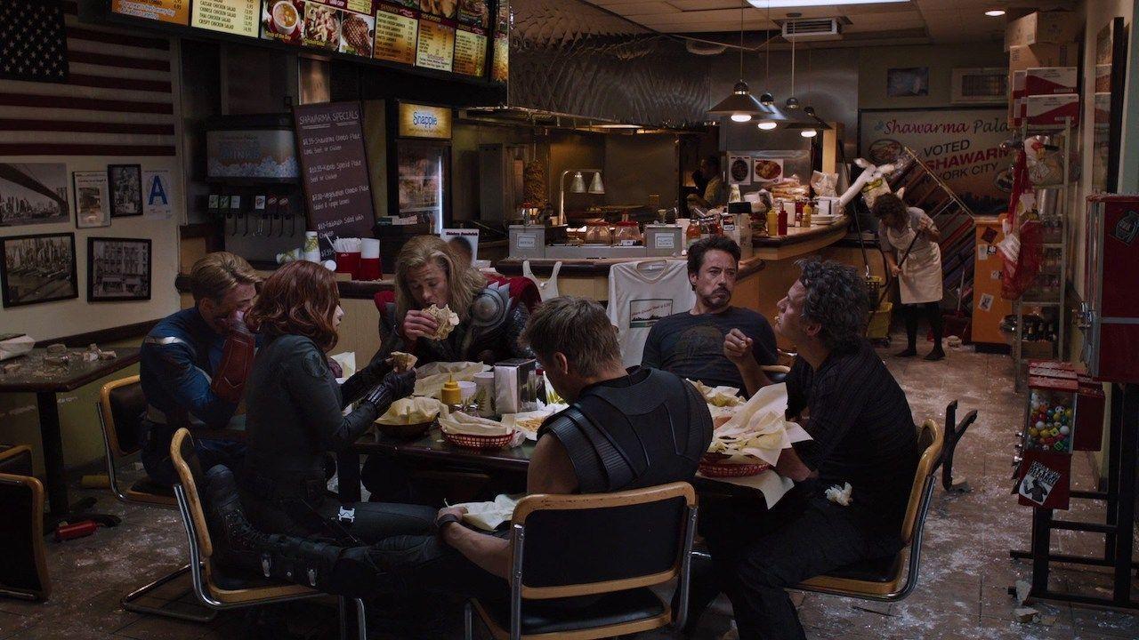 The Avengers eat shawarma at Shawarma Grill