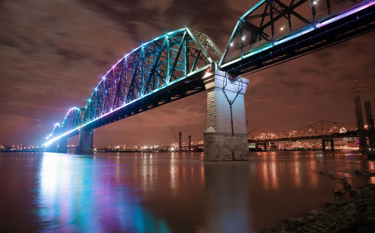 The Big Four Bridge is a six span railroad truss that crosses the Ohio River