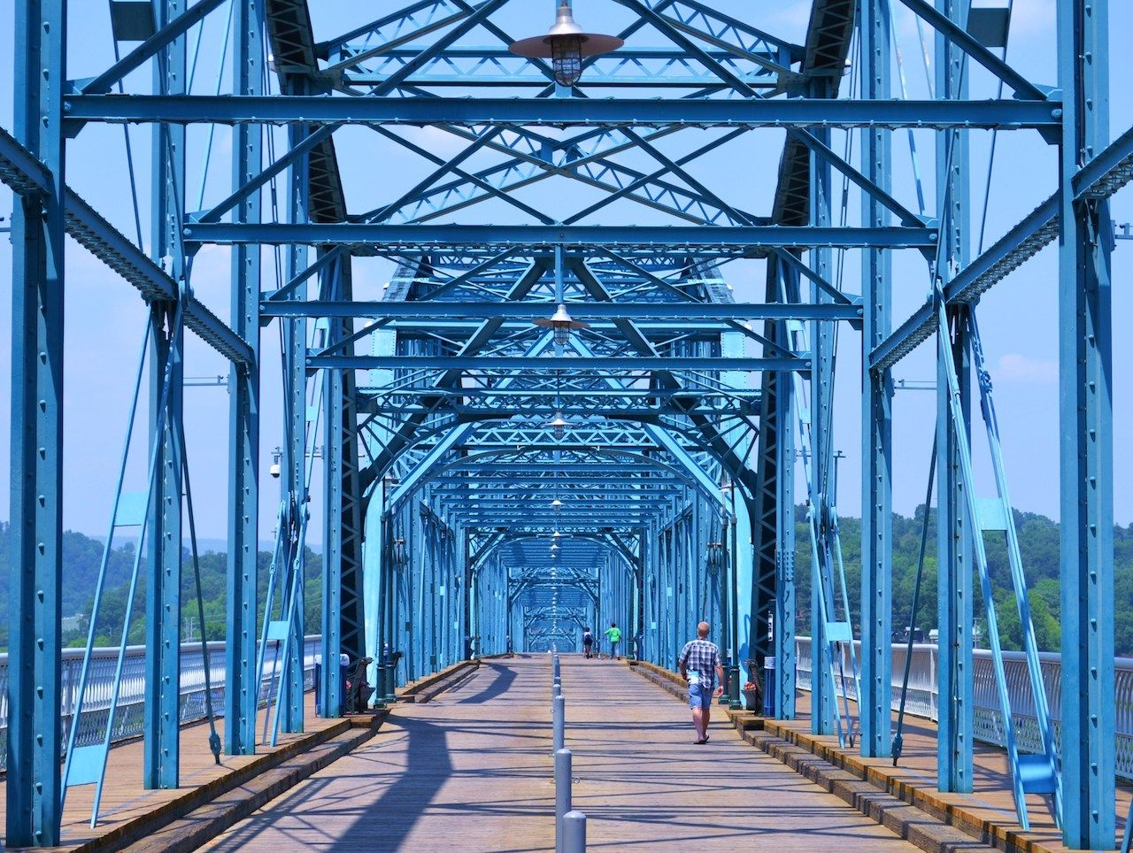 The Blue Walnut Street Bridge in Chattanooga, Tennessee
