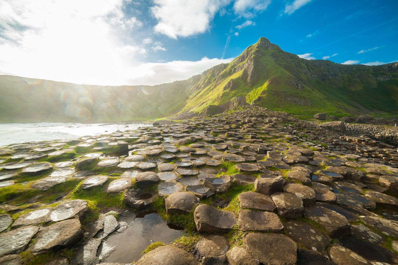 The Giant's Causeway at dawn on a sunny day