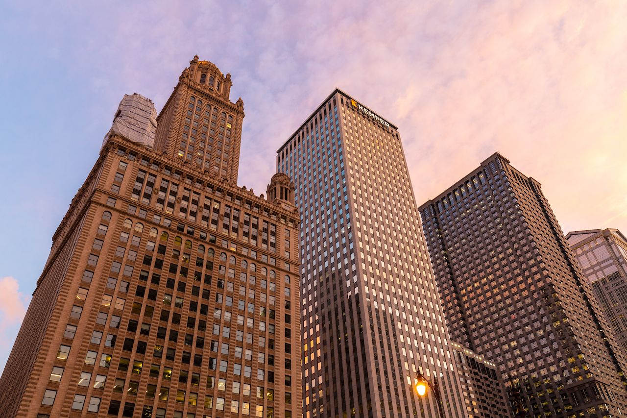 The Jewelers, Kemper, and Leo Burnett buildings at sunset on a spring evening