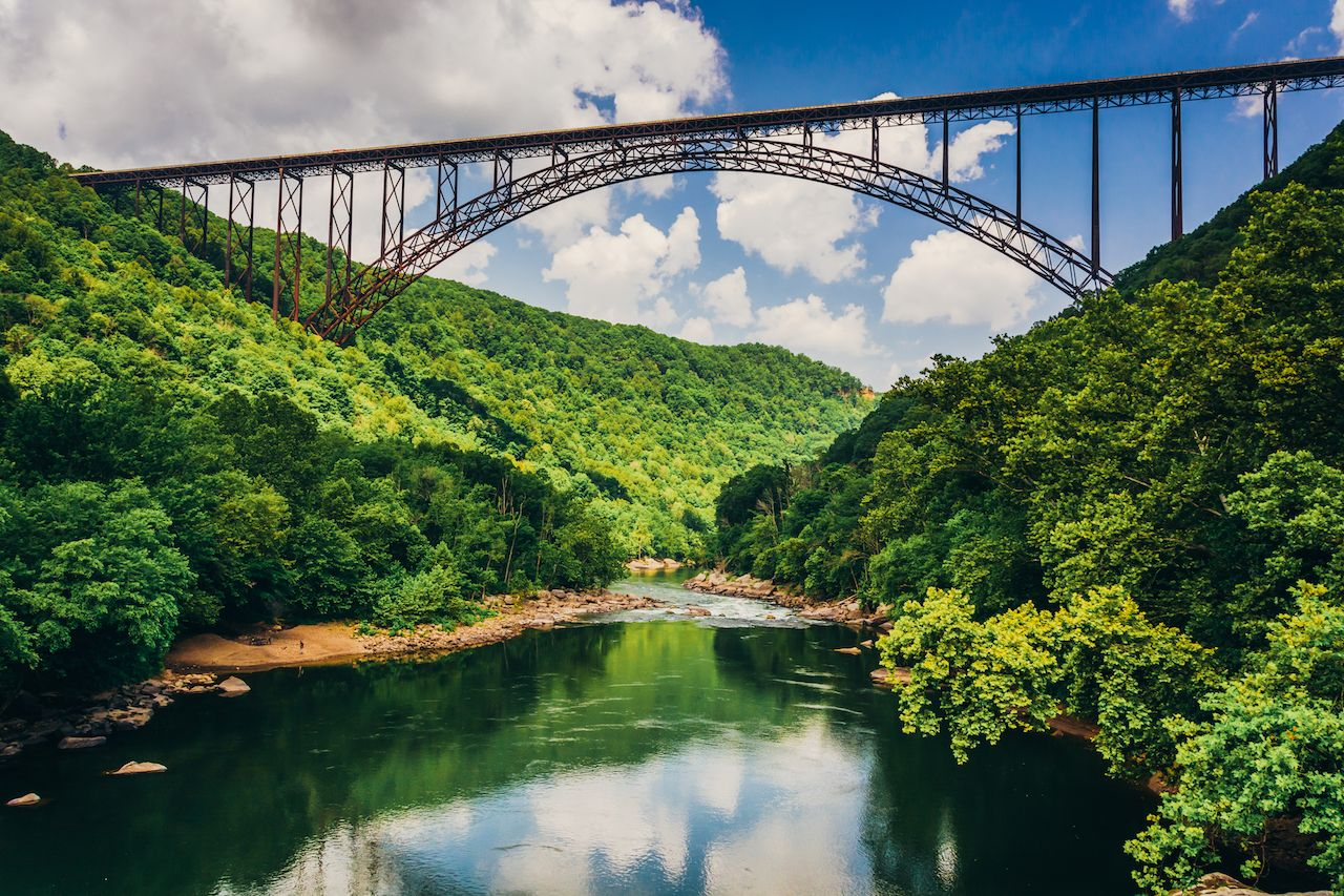The New River Bridge Gorge, seen from Fayette Station Road, at the New River National River Gorge, West Virginia