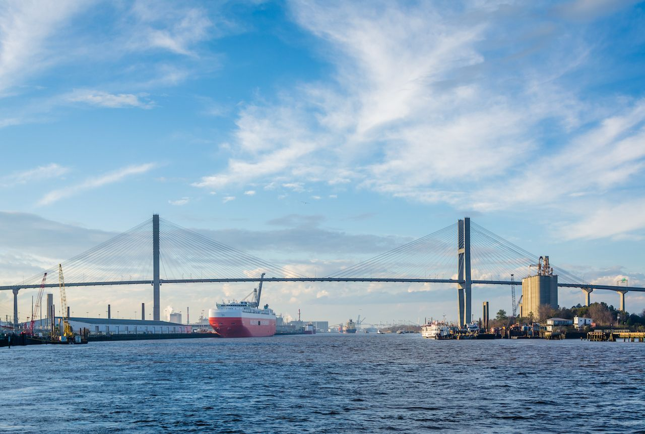 The Savannah River and Talmadge Memorial Bridge, Savannah, Georgia
