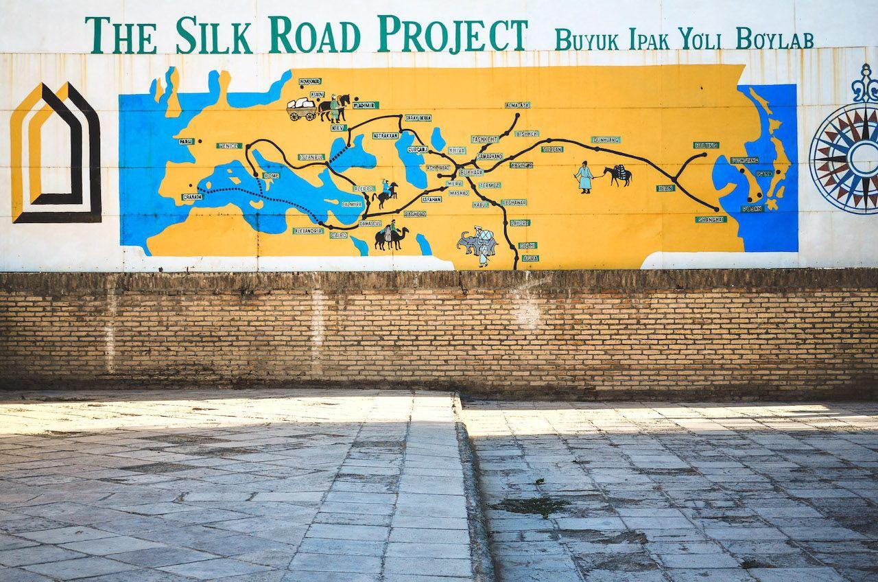The Silk Road Project mural in Uzbekistan