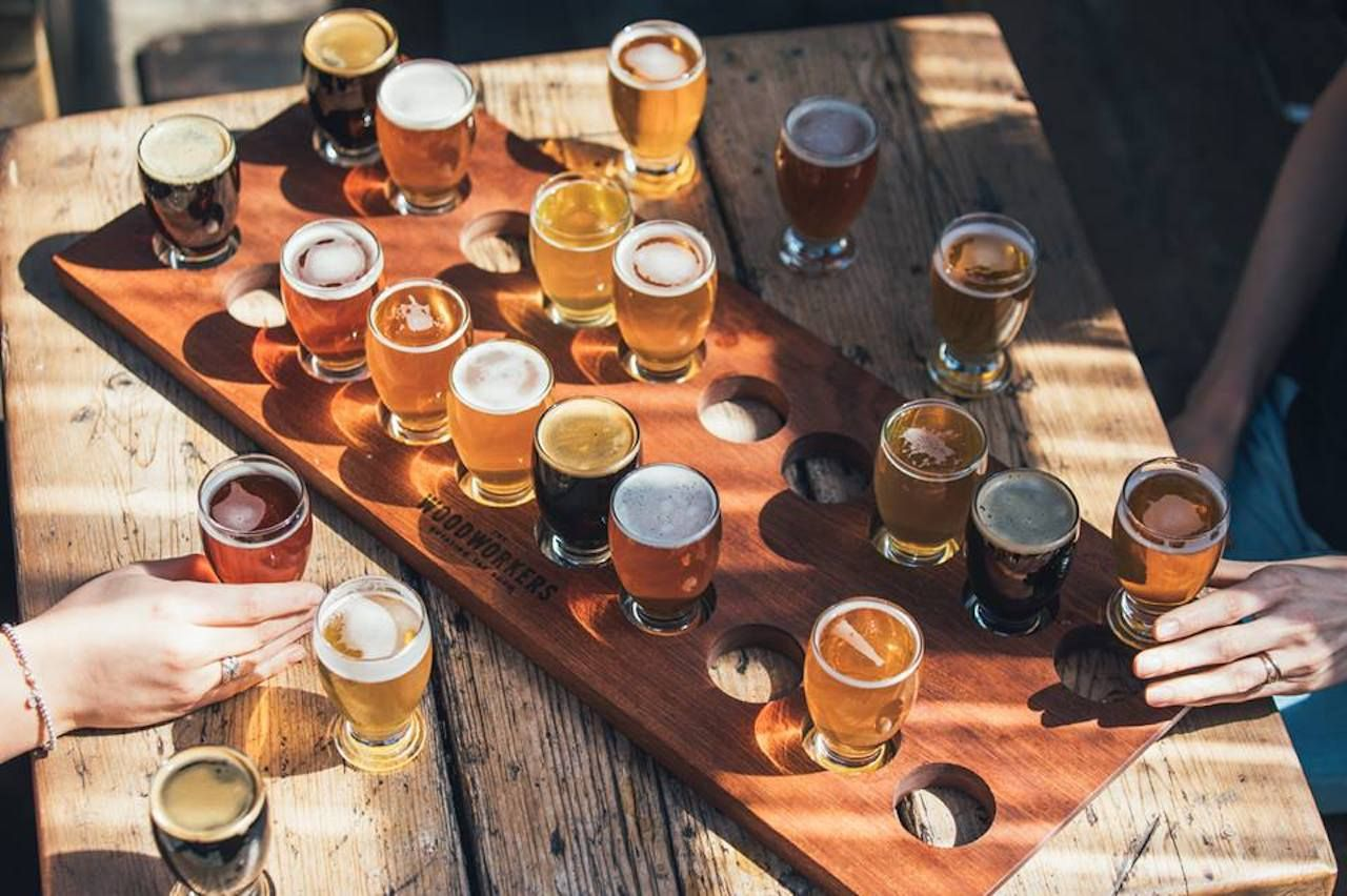 Large flight of beer
