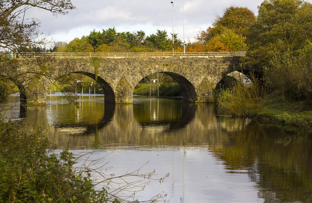 The ancient stone built Shaw's Bridge over the River Lagan, Belfast