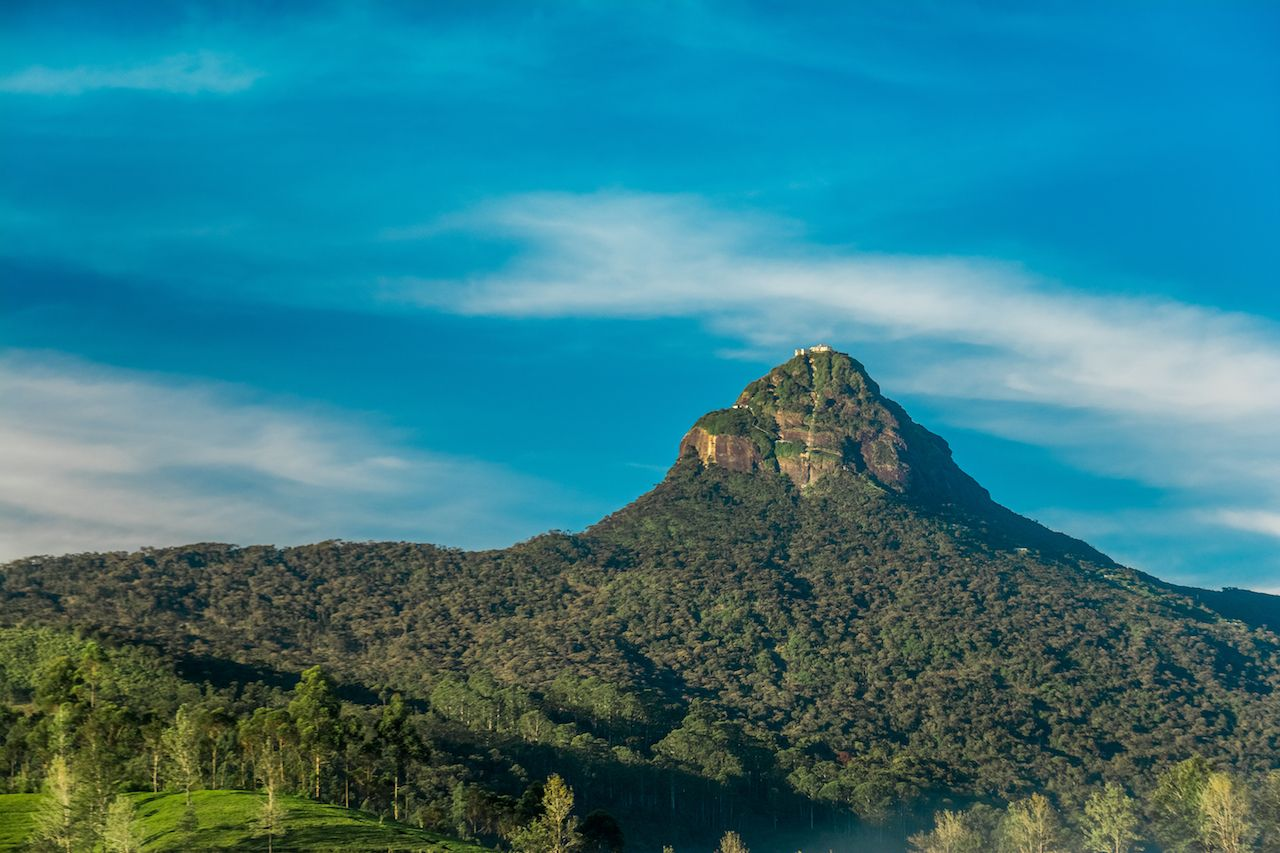 The sacred Sri Pada mountain also known as Adam Peak in Sri Lanka