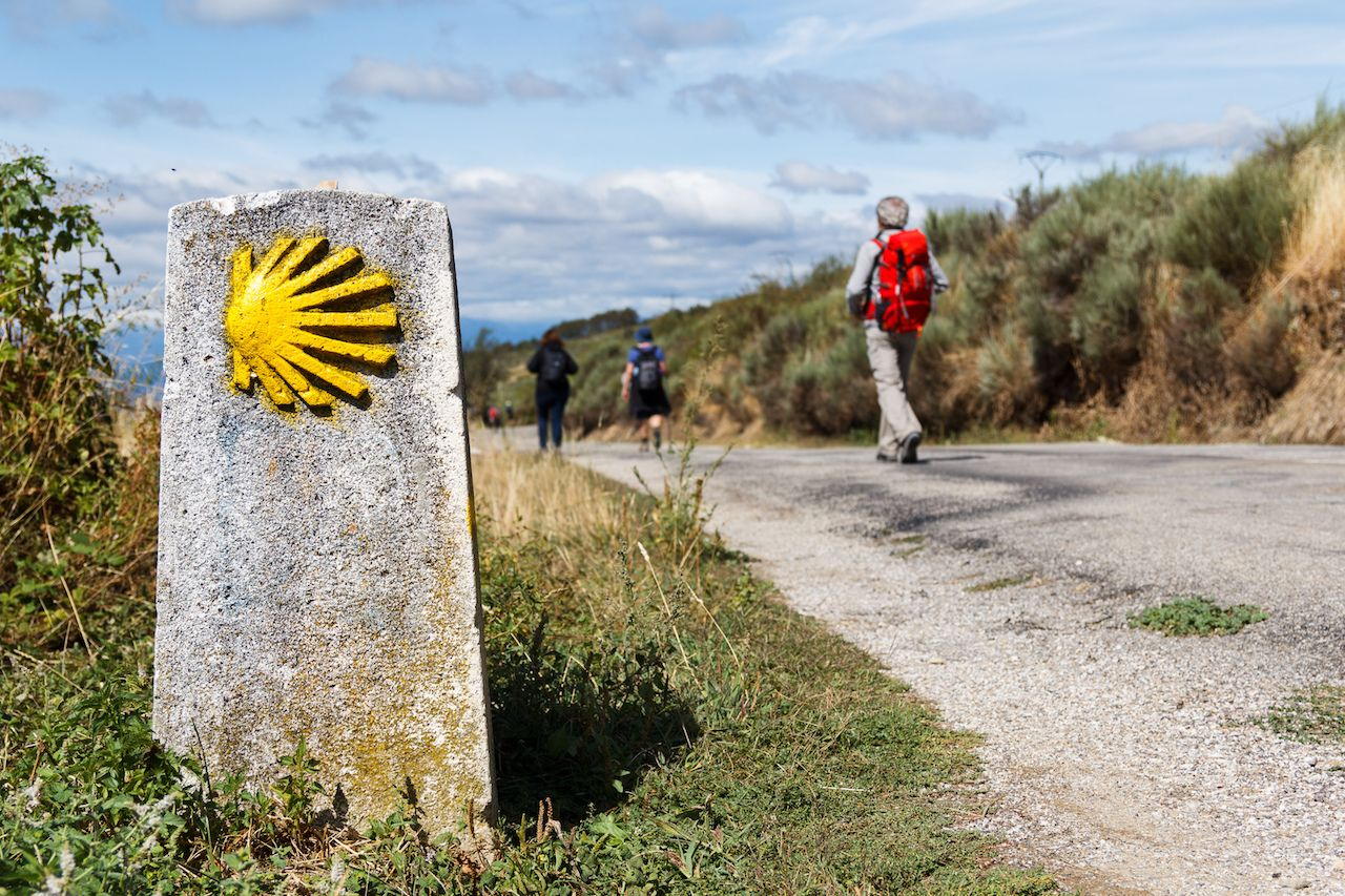 The yellow scallop shell signing the way to Santiago de Compostela