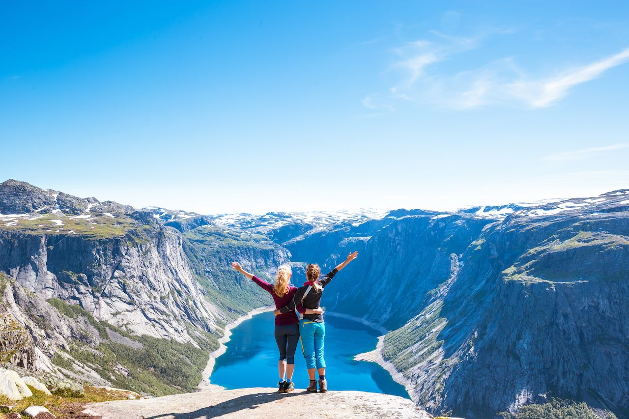 Two people on Trolltunga hiking route in Norway